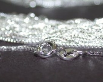 6 X Sterling Silver Box Chains 1mm Necklace 18 inch