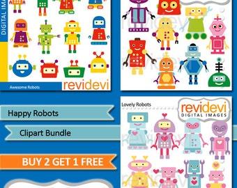 Robot clipart sale bundle / robots clipart digital download, commercial use clipart graphics / cute clip art, robot