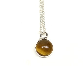 Sterling Silver Necklace with Tigers Eye. FREE US Standard Shipping.