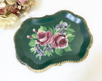 VINTAGE Green TOLE TRAY - Green Floral Roses - Scalloped Tray - Shabby Cottage Chic Tray - Hand Painted Tray - Toleware Tray