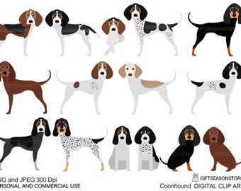 Coonhound dogs digital clip art for Personal and Commercial use - INSTANT DOWNLOAD
