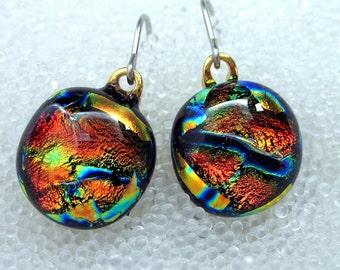 Dichroic Glass Earrings, Fused Glass in Fiery Orange Tangerine Tango, Dangle, Wire, Drop