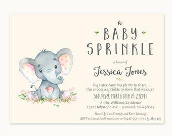 Elephant Baby Sprinkle Invitations - Elephant Baby Sprinkle - Printable Invitation - Elephant Baby Sprinkle Invites - Elephant Invitation