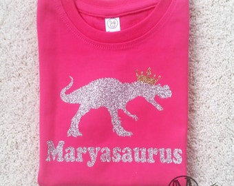 Personalized girls princess dinosaur shirt, sparkly glitter dinosaur shirt for girls, girls fitted dinosaur shirt,
