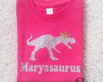 Personalized girls dinosaur shirt, dinosaur birthday shirt for girls, sparkly glitter dinosaur shirt, girls fitted shirt, dinosaur shirt,