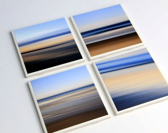 Beach Decor, Ocean Sunrise, Coaster Set, Ceramic Tile, Water Abstracts, 4X4, Set of 4, Nautical Home