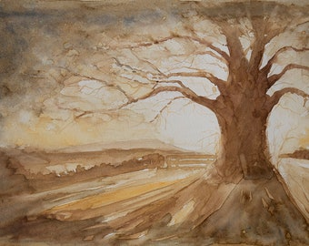 Original Watercolor | Big tree | Unique painting | Arte made in italy