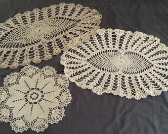 Vintage Crocheted Doily Set Granny Shabby Farmhouse Chic Home Decor