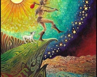 The Fool Tarot Art Nouveau 20x24 Print Psychedelic Pagan Mythology Bohemian Goddess Art
