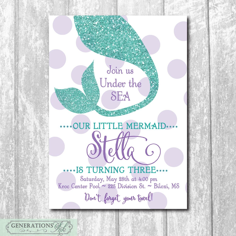 Mermaid birthday invitationunder the sea zoom monicamarmolfo Images