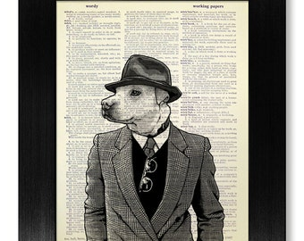Dog BLACK & WHITE Wall Art Print, Book Page Art, Laundry Room Decor, Dog DICTIONARY Art Print Dictionary Paper, Office Black White Poster
