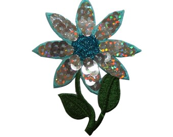 ID 6565 Sequin Flower Patch Shiny Blossom Garden Embroidered Iron On Applique