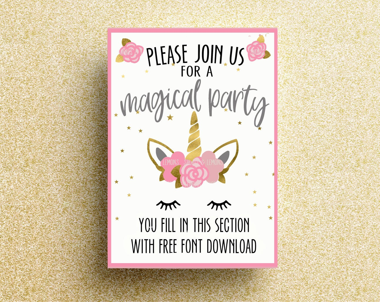It's just a graphic of Witty Printable Unicorn Invitations