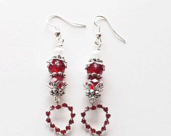 Red Crystal Heart Earrings