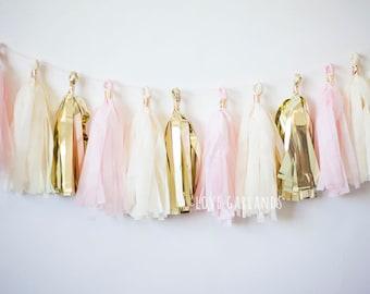Blush Gold Garland, Blush Gold Tassel Garland, Light Pink Gold Garland, Light Pink Garland, Baby Girl Shower Decor, Pink Gold Bridal Shower