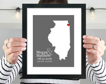 Illinois State Map Art Print, Personalized Illinois Map, Anniversary, Illinois Wedding Map, Engagement, Bridal Shower Gift -  Print