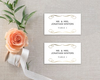 Printable Place Card Template, Wedding Place Cards, Seating Cards,  Printable Template |  Gold Swirls | No. EDN 5103