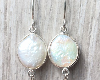 Pearl Sterling Wrapped Earrings