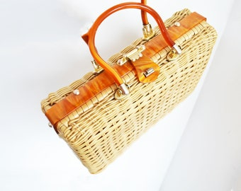 Vintage Wicker Straw Bag  Lucite handbag Princess Charming By Atlas