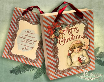 printable Christmas Bag Girl with Snowball INSTANT DOWNLOAD digital collage sheet