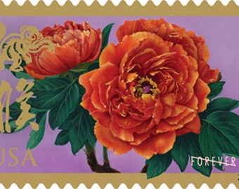 10 Unused Peony Forever Stamps // Unused Red Orange Lunar New Year Flower Postage // Peony Stamps for Mailing