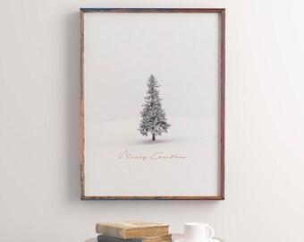 Wall Art, Modern Abstract Print, Christmas Gift Art, Printable Art, Christmas Tree, Merry Christmas, Rain Art, Christmas Print