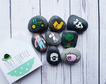Farm Story Stones, story telling set, birthday gift, unique gift, children's gift, handpainted gift