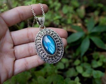Labradorite Pendant, Blue Flash Labradorite Sterling Silver Pendant on Chain, Labradorite Necklace, Anniversary Pendant, Labradorite Jewelry