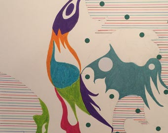 Birdsong Rising/Expressionist Paper Collage/Affordable Wall Art