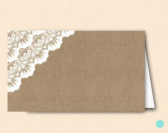 Printable Labels Cards, Burlap and Lace Bridal Shower Labels, Tent Style, Decoration, Food Labels, Baby Shower Labels BS34 tlc11