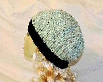 Hand Knit Adult Medium Sage Green Beanie With Black Accent Band