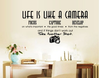 Life Is Like a Camera Vinyl Wall Decals Wall Sticker Quotes Sayings Words Lettering Vinyl Wall Art Decor for Bedroom Living Room Bedroom
