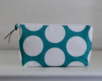 Turquoise Polka Dots Wide Padded Zipper Pouch Gadget Case Cosmetics Bag - READY TO SHIP