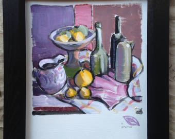 Still life with bottles and lemons ; original one of a kind acrylic painted sketch