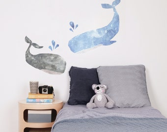 Fabric Wall Decal - Whales (reusable) NO PVC