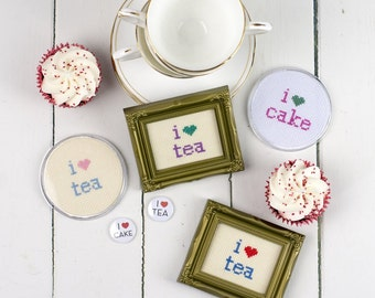 I Love Gin And Tea Instant Download Cross Stitch Chart