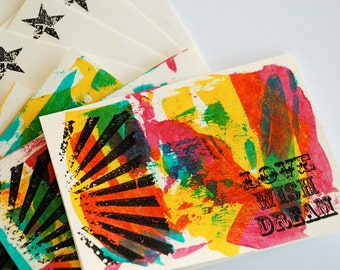 Love Wish Dream - Hand-painted Card Set of 4.
