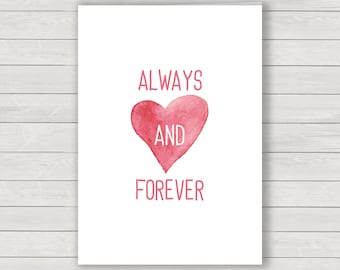 Valentines Card, Always and Forever Valentines greetings card