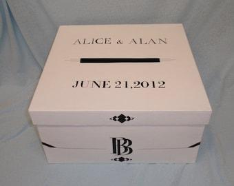 "2072, Art Deco Money Box, 14"" Square Box, Wedding Card Box With Slot"