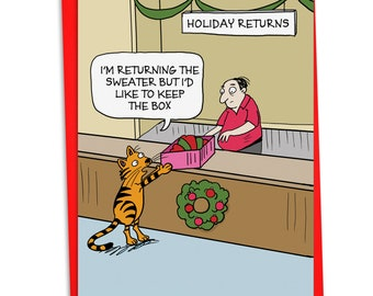 C4522XSG Keep The Box: Humor Christmas Card, with Envelope.