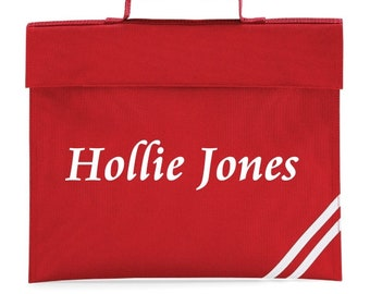 Personalised with name Book Bag Girls/Boys/Childrens School Bag 8 Colours Available