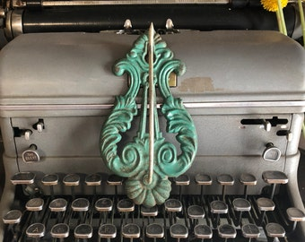 Vintage Cast Iron Reciept Hook , lyre , green , made in USA , metal wall hook , Old store decor , oversized key hook , Victorian