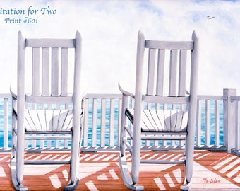 Prints Artist Made Standard-Size Art on Canvas from Oil Paintings Limited Edition Print Rockers Deck Chairs Sea Seaview Serenity two chairs