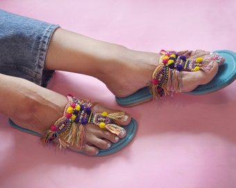 Pom Pom Sandals, Tassel Sandals,Beaded Sandals, Bohemian Sandals, Embroidered Shoes, Vacation Sandals, Leather Sandals