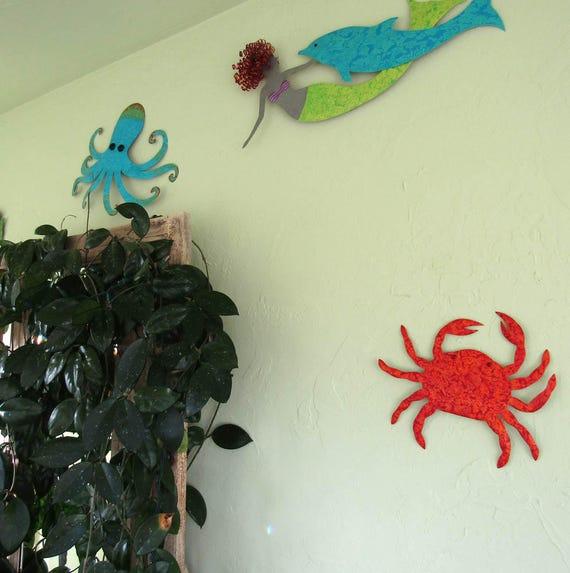 Beach House Metal Wall Art Crab Sculpture Sea Life Coastal