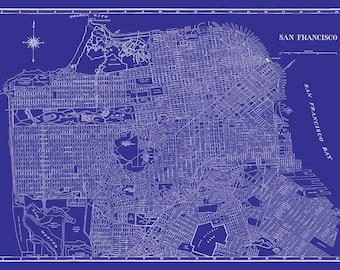 San Francisco Map - Street Map Vintage Blue Print Poster