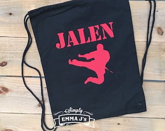Back pack, Custom back pack, cloth backpack, karate, boy backpack, cotton canvas backpack