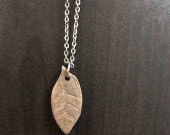 Hand carved leaf necklace