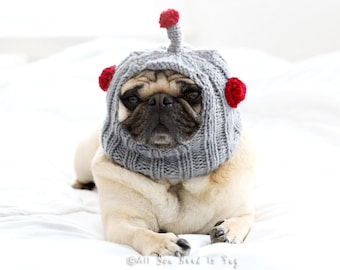 Robot Dog Hat - Pug Hat - Custom Dog Clothing - Pet Apparel - French Bulldog Hat - Gift for Dog Lovers - All You Need is Pug Hat®