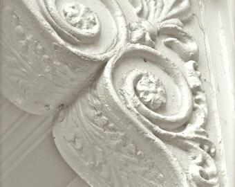 "Architectural Photo, White Abstract Art, Savannah Photography, Rustic White Corbel, Architecture, Foyer Hotel Interior Design- ""White Deco"""